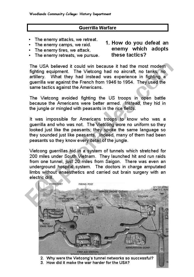 worksheet Vietnam War Worksheet english worksheets guerilla warfare vietnam war war