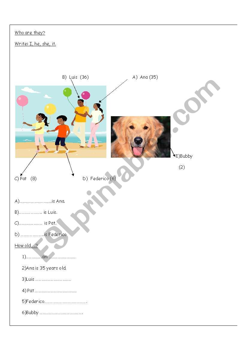 Personal pronouns and age worksheet