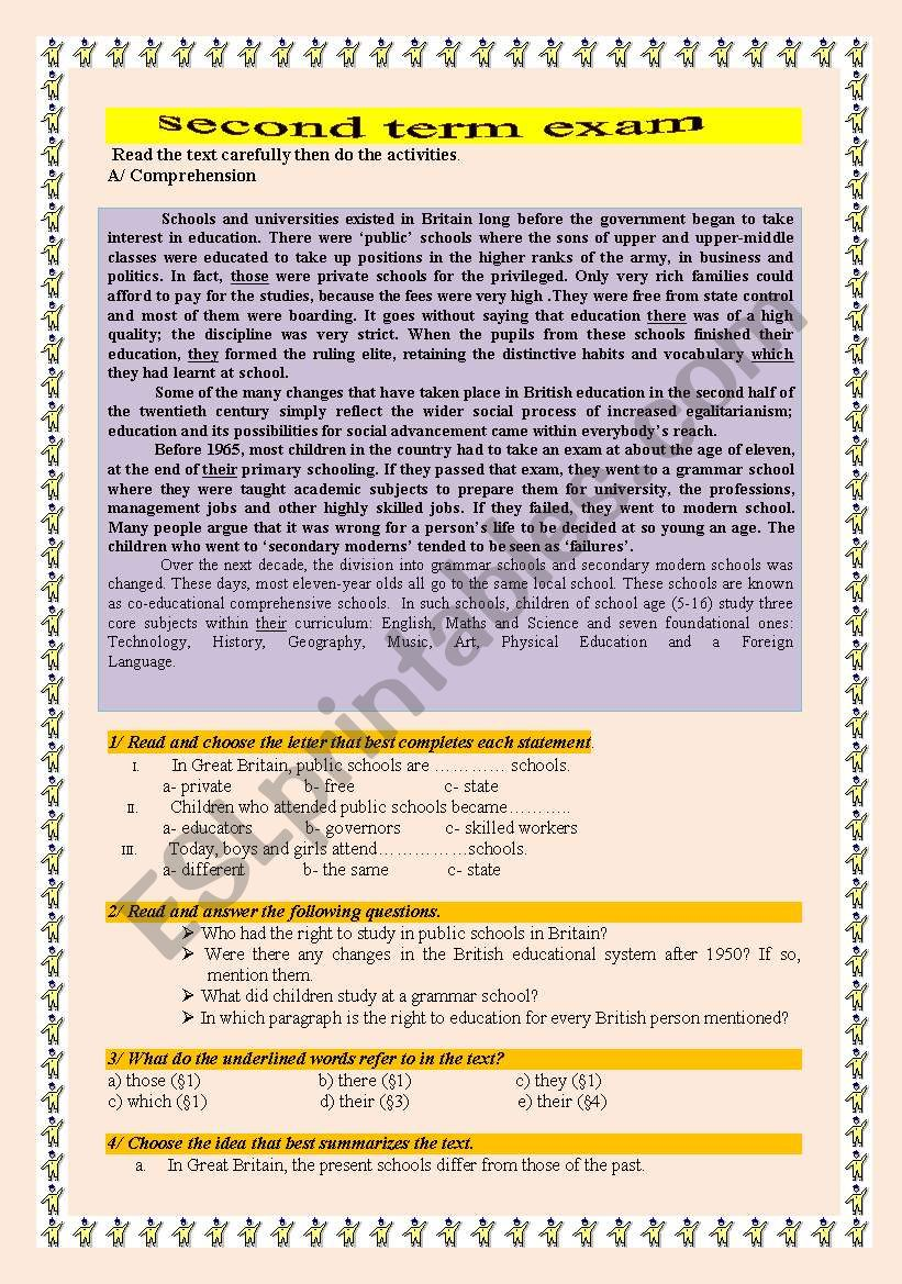 foreign languages 2nd term exam ( theme: education)