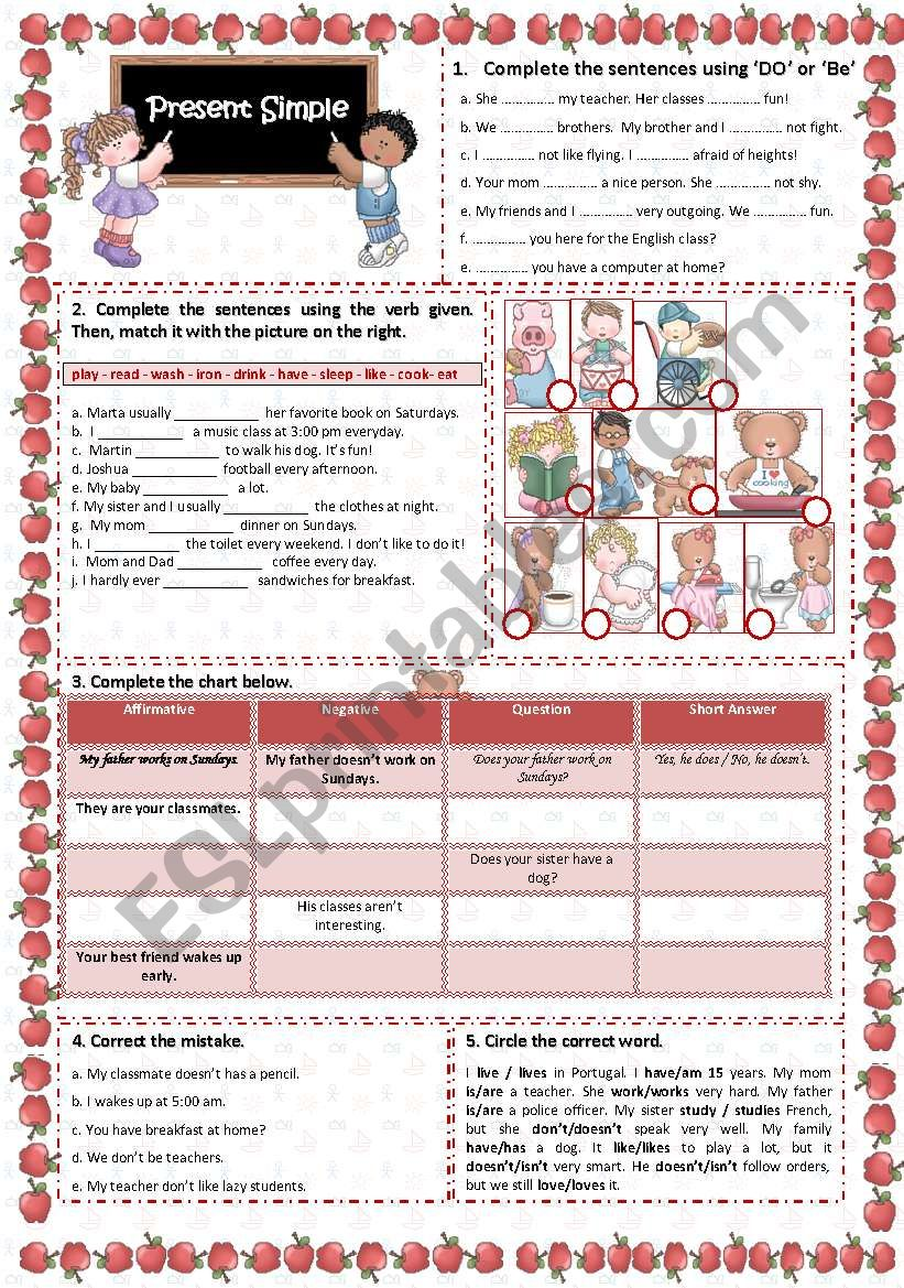 Present simple: 5 exercises  worksheet