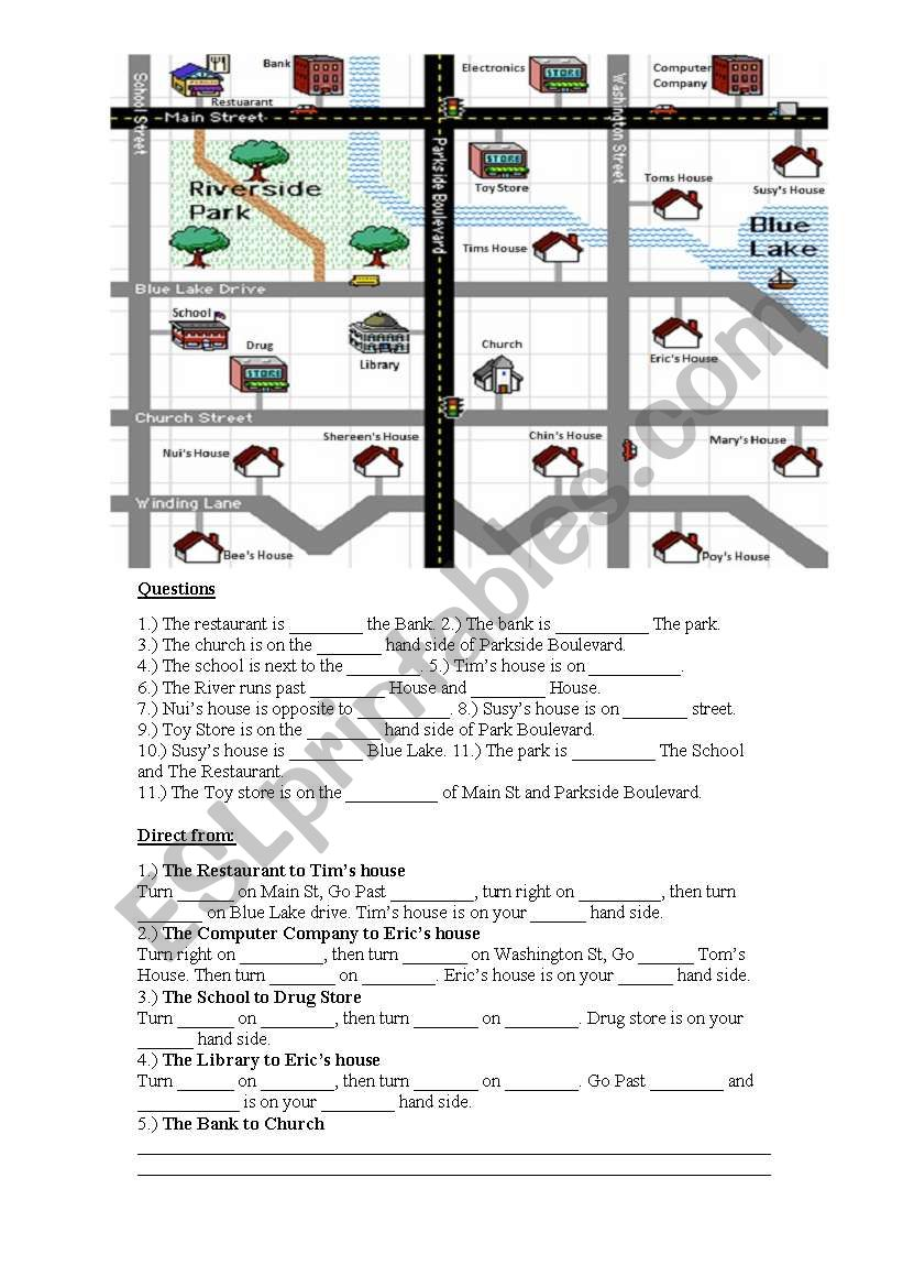 english worksheets map directions worksheet. Black Bedroom Furniture Sets. Home Design Ideas