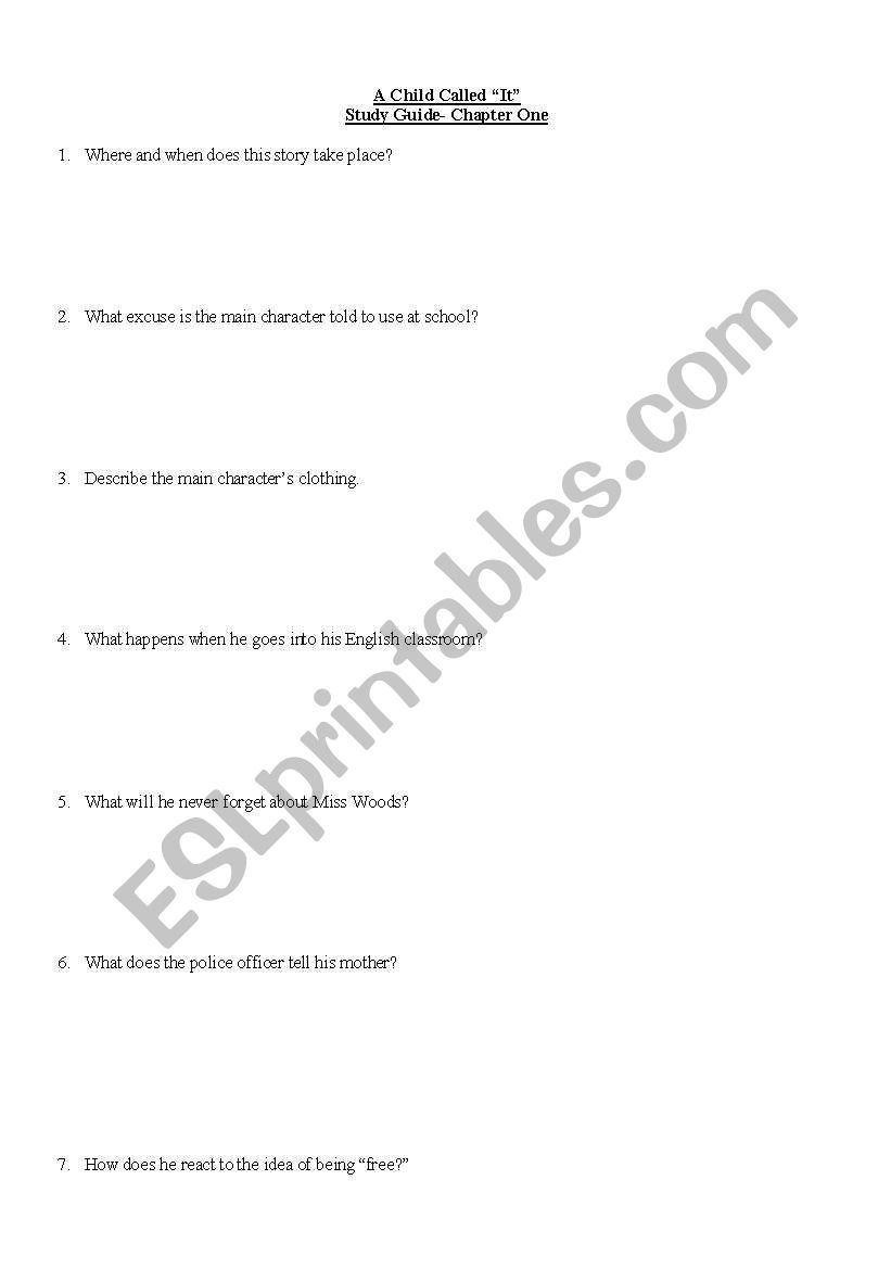 English worksheets: Child called It study guide