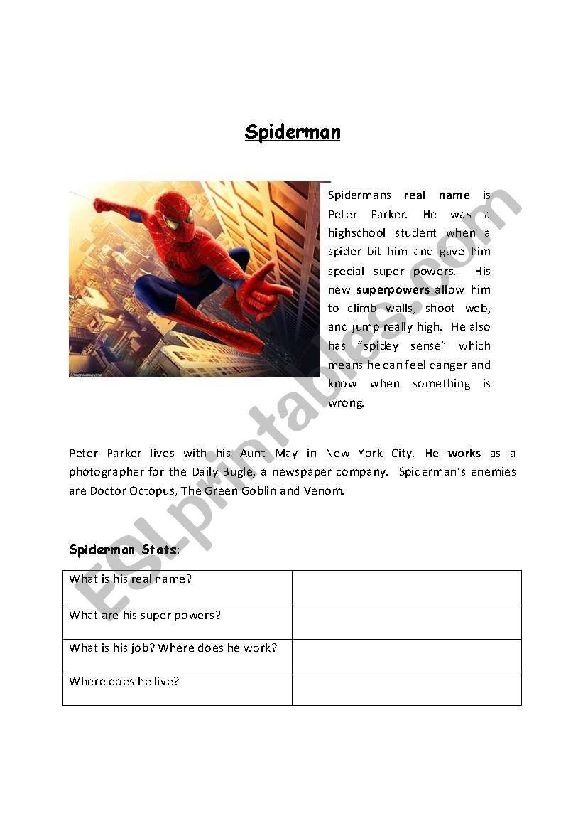 Spiderman reading worksheet worksheet