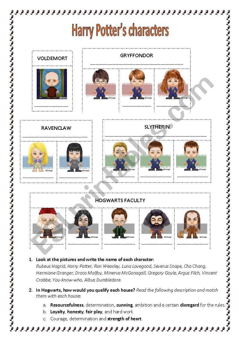 Harry Potter Reading Activity worksheet