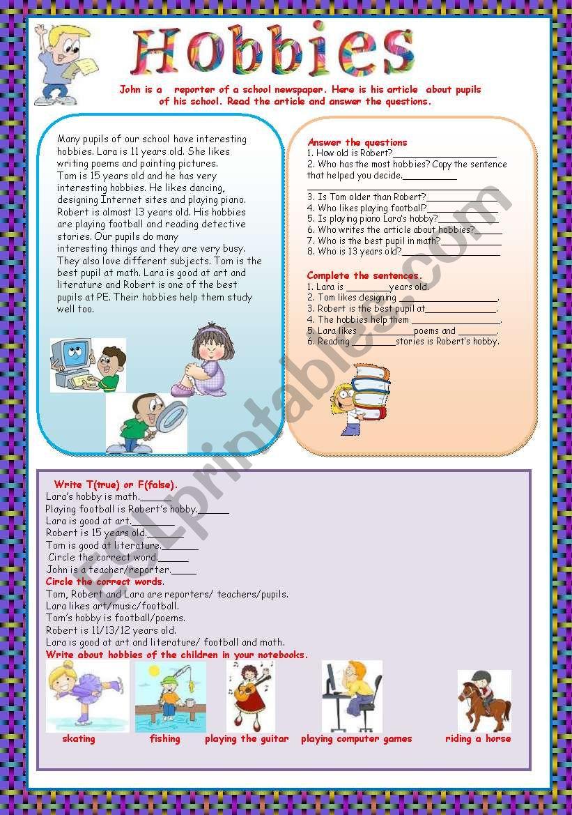 Hobbies Esl Worksheet By Ellakass