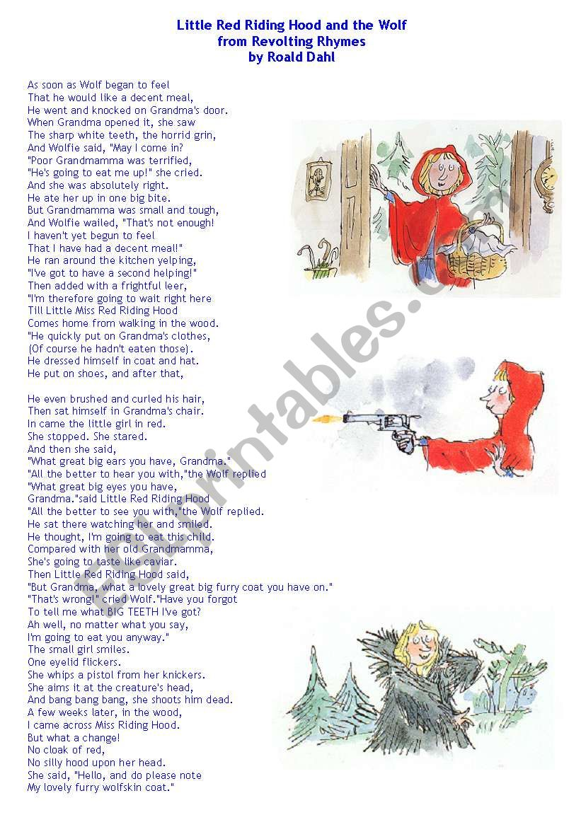 Little Red Riding Hood And The Wolf By Roald Dahl Esl Worksheet