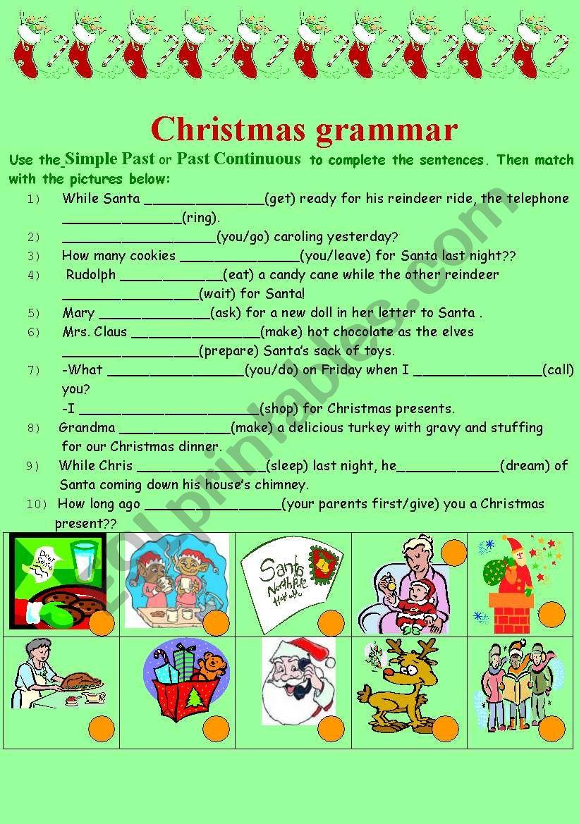 grammar and christmas worksheet
