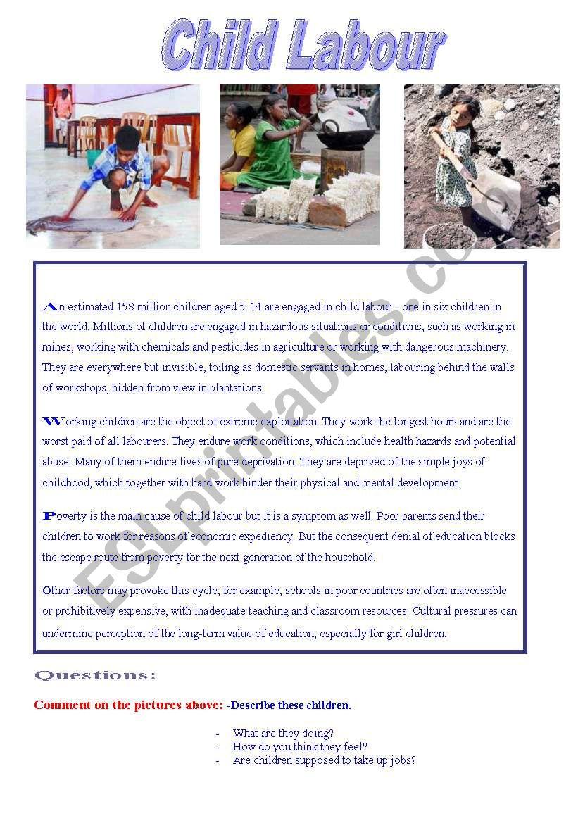 Reading: Child Labour worksheet