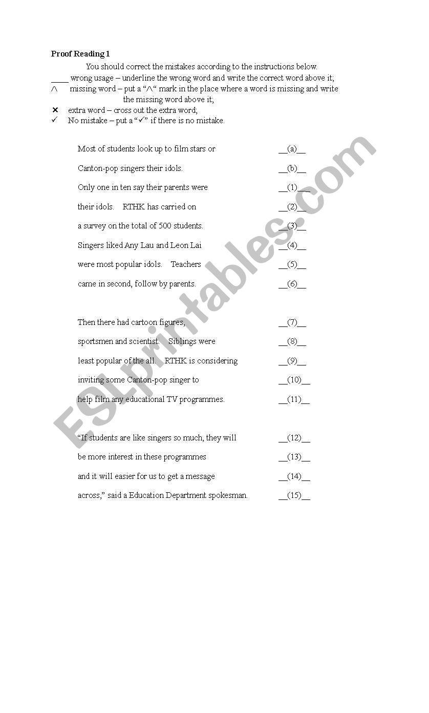 Proofreading  worksheet