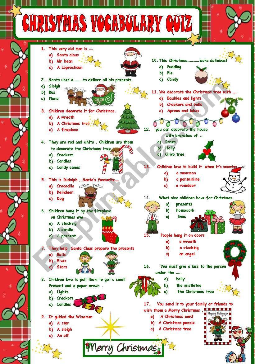 CHRISTMAS VOCABULARY QUIZ worksheet