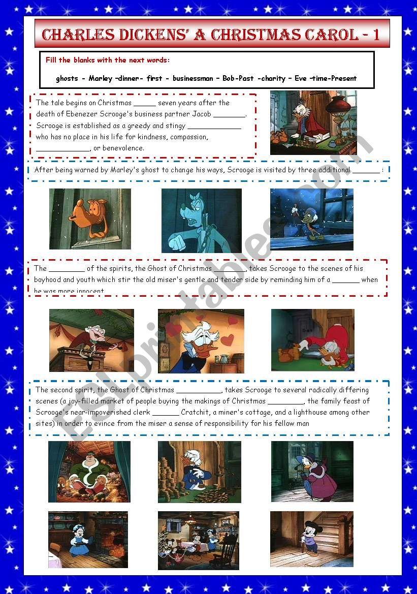 Charles Dickens´ A Christmas Carol 1/2 - ESL worksheet by VaneV