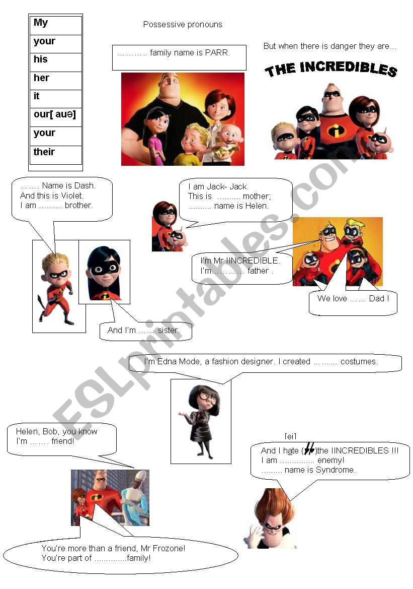 Possessive Pronouns The Incredibles Esl Worksheet By Daranetles