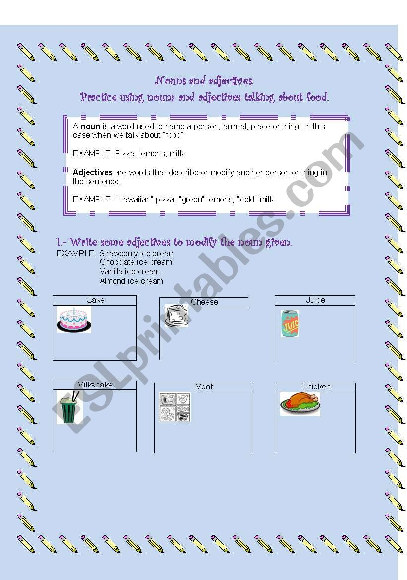 FOOD (NOUNS AND ADJECTIVES) worksheet