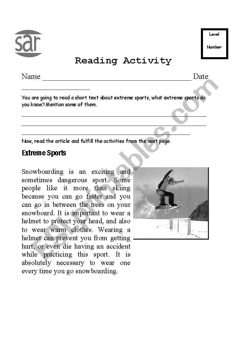 extreme sports reading comprehension esl worksheet by maritatuk. Black Bedroom Furniture Sets. Home Design Ideas