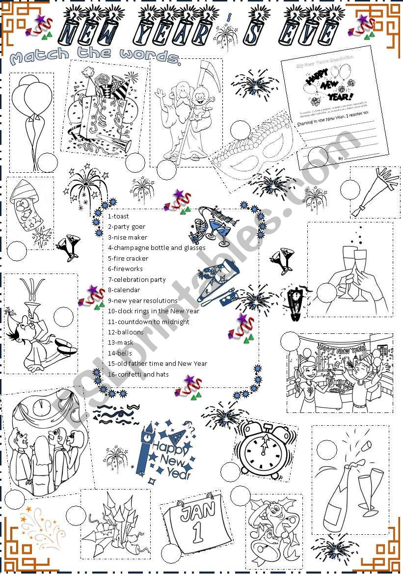 New Year´s eve worksheet