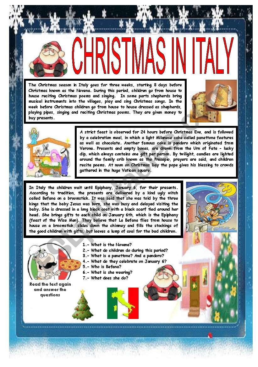 CHRISTMAS AROUND THE WORLD - PART 2 - ITALY (B&W VERSION INCLUDED) - READING COMPREHENSION