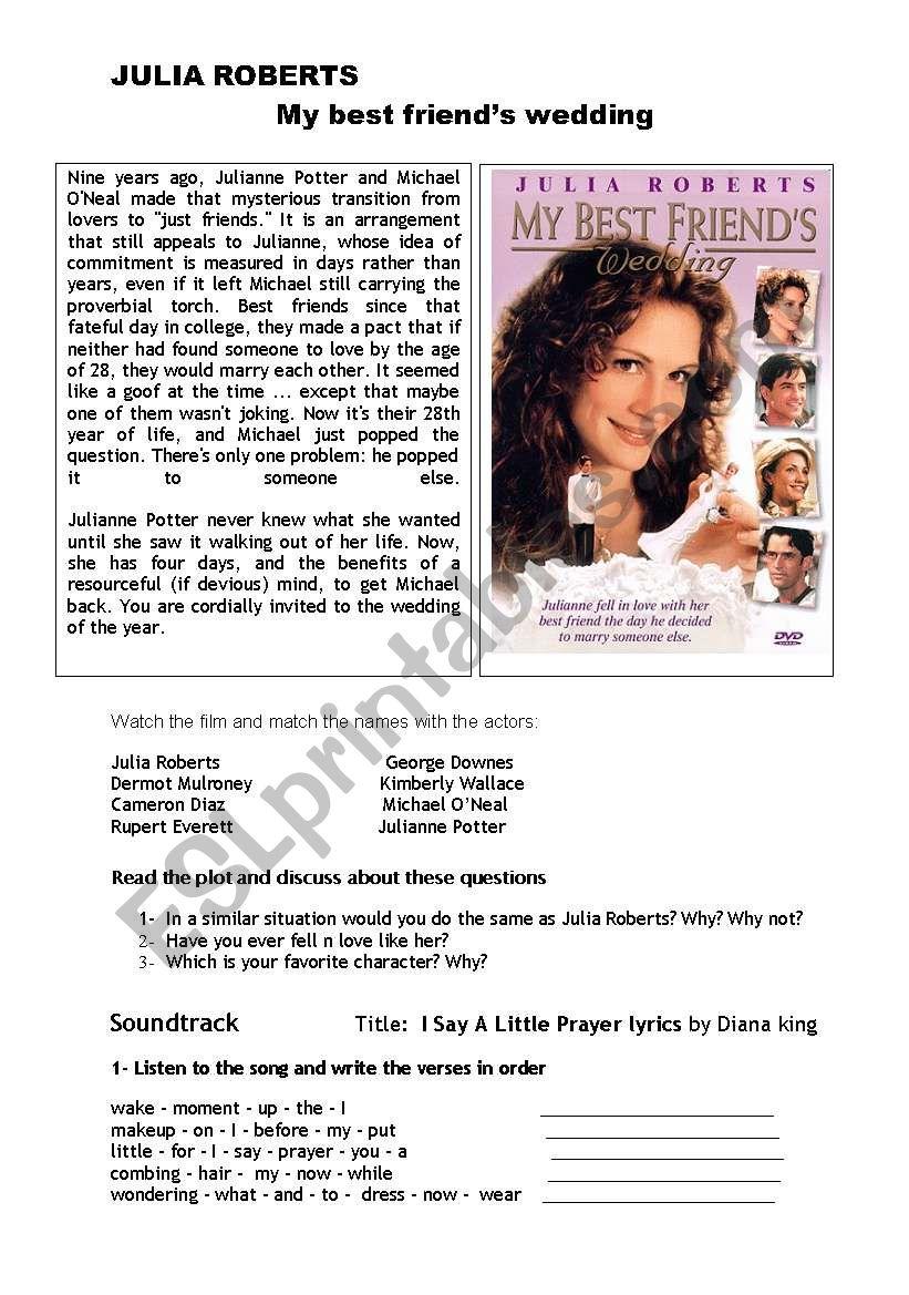 My Best Friend S Wedding Soundtrack.I Say A Little Prayer Esl Worksheet By Viviinenglish
