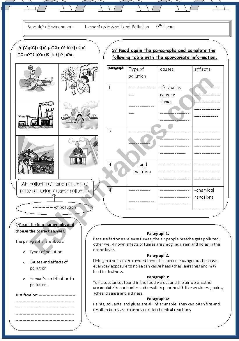 lesson 1 module3 pollution worksheet