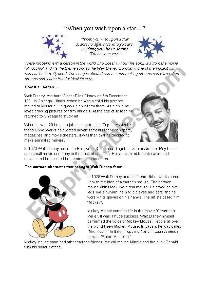 Reading Comprehension Walt Disney