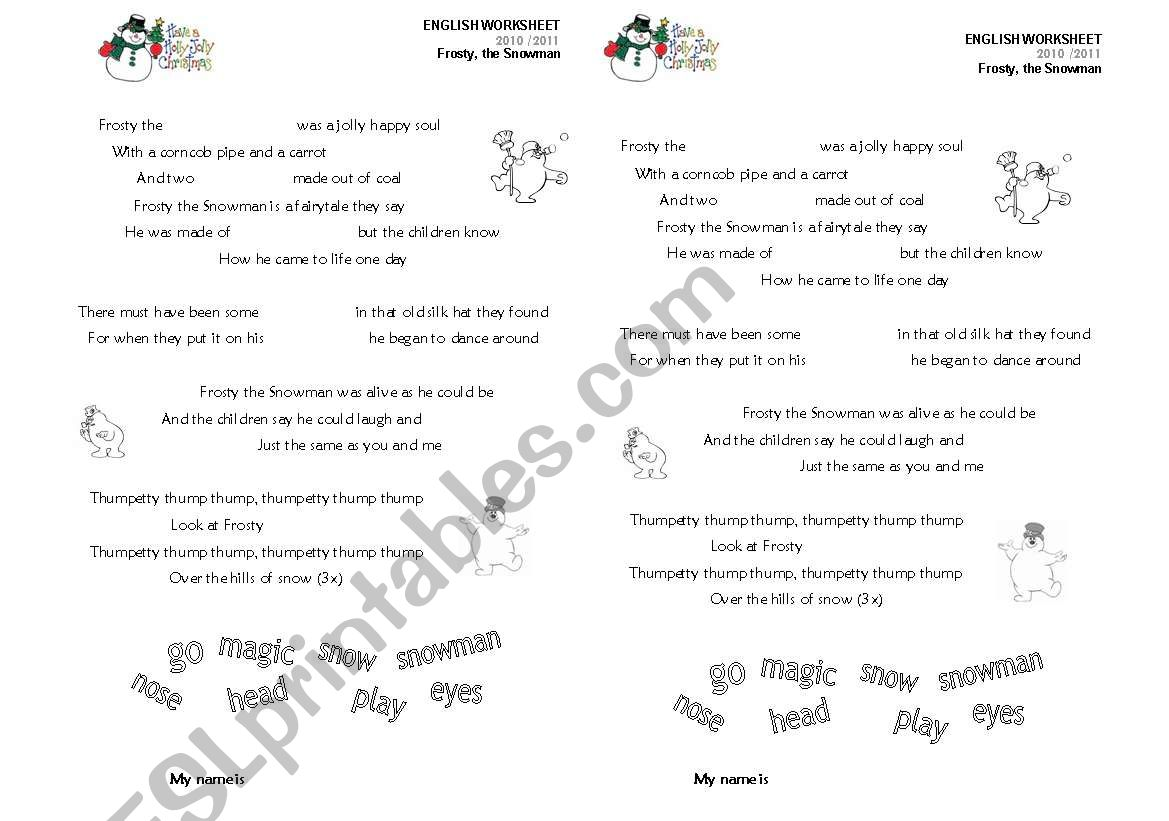 Frosty, the snowman worksheet