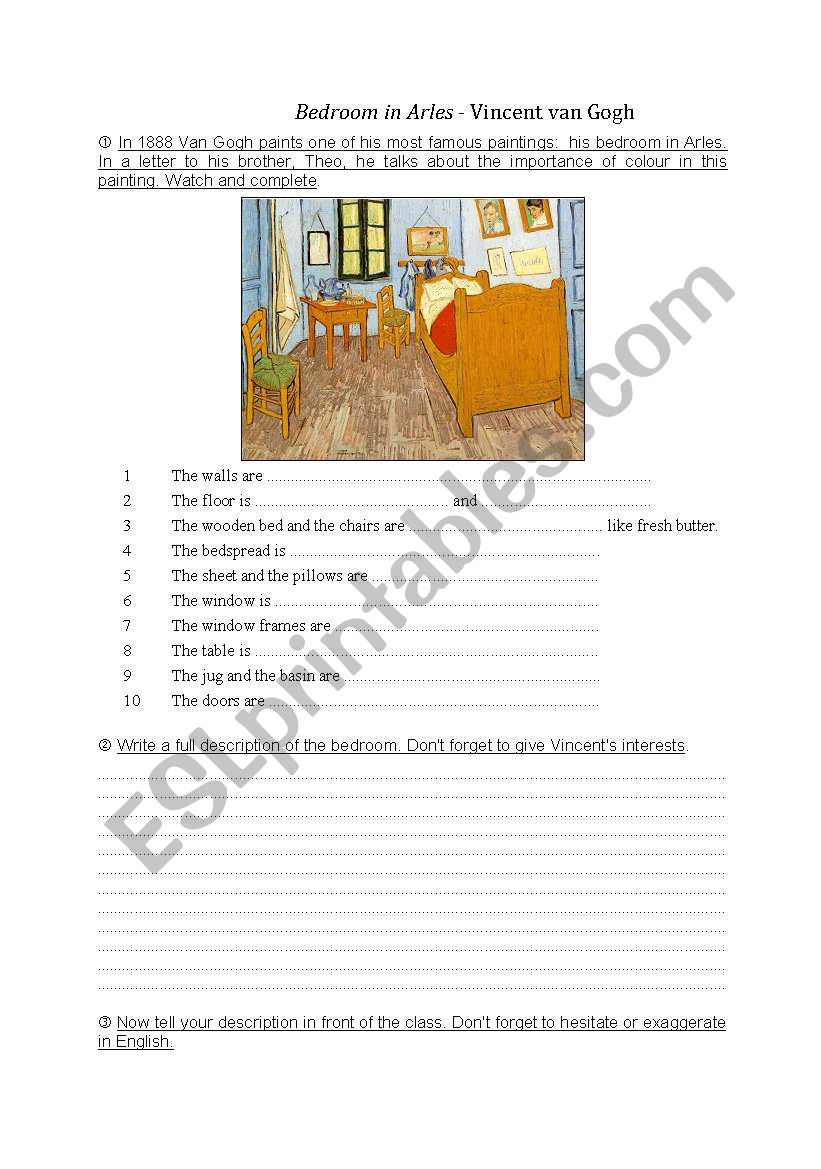 Bedroom In Arles Van Gogh Esl Worksheet By Nanette25,The Animals House Of The Rising Sun Chords Guitar
