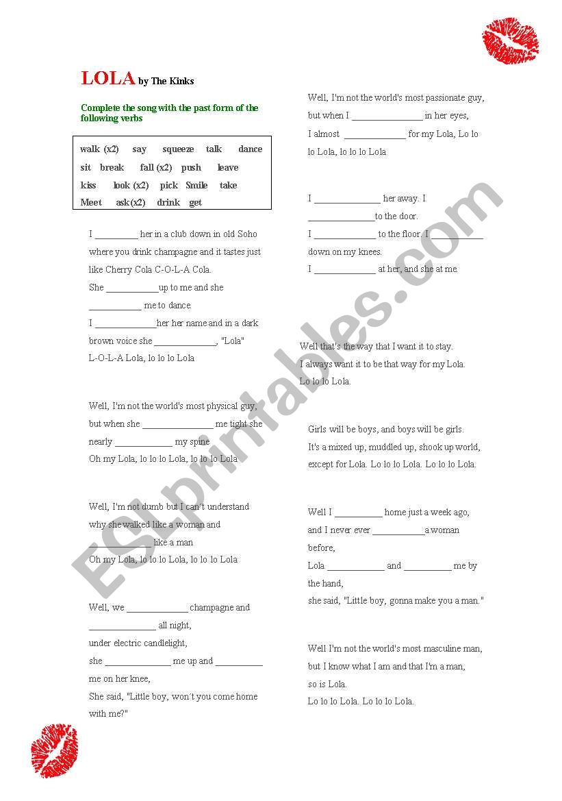 LOLA (The Kinks) worksheet