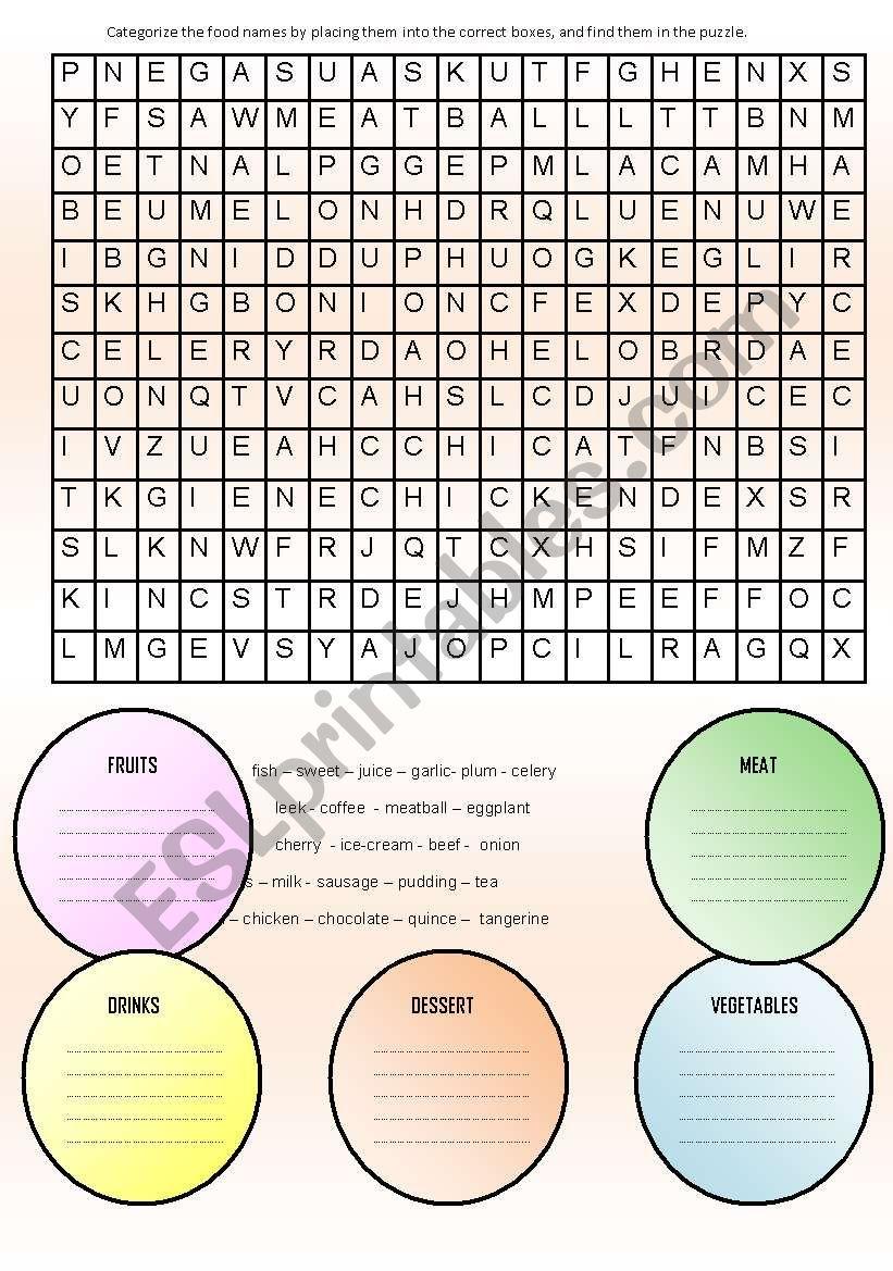 categorizing the food esl worksheet by sawer. Black Bedroom Furniture Sets. Home Design Ideas