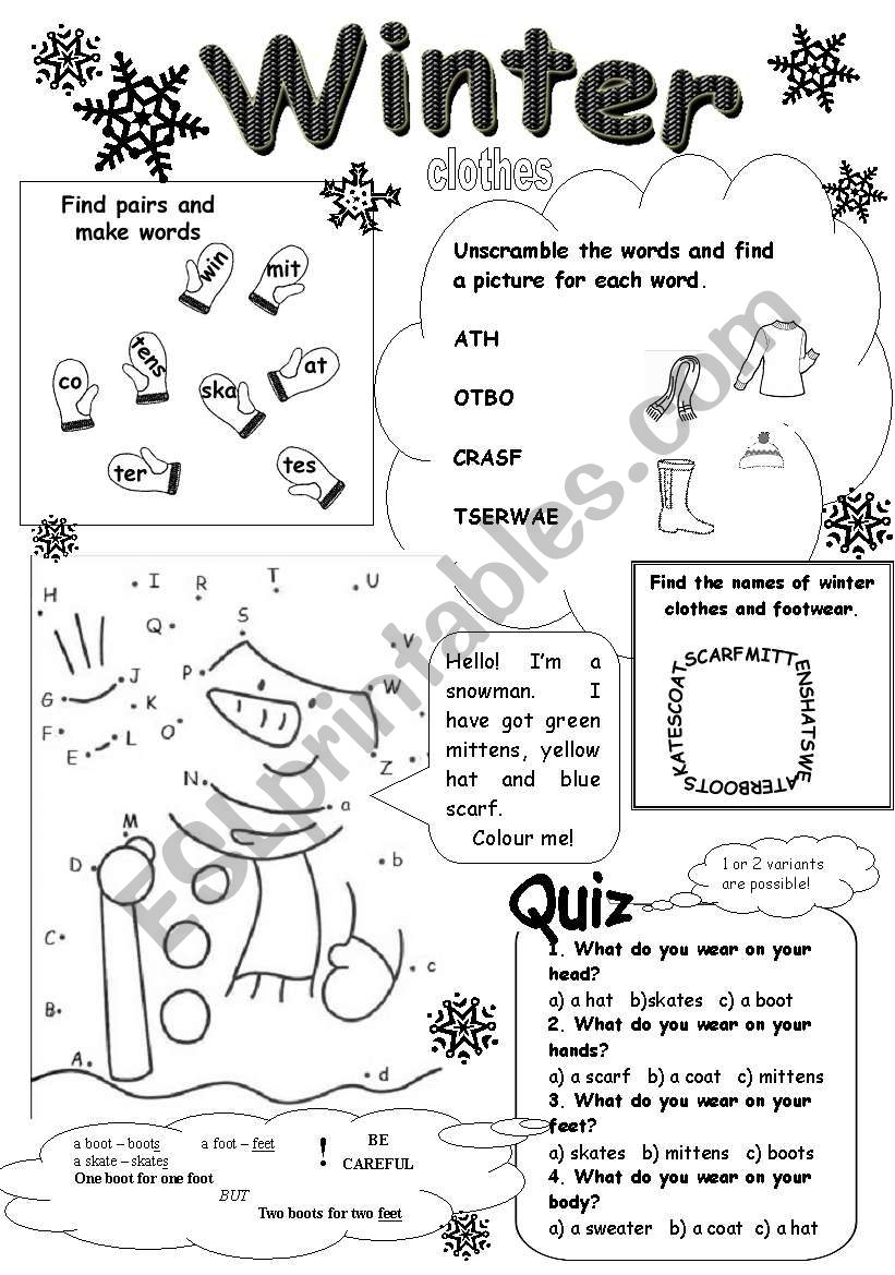 winter clothes esl worksheet by numberseventeen. Black Bedroom Furniture Sets. Home Design Ideas