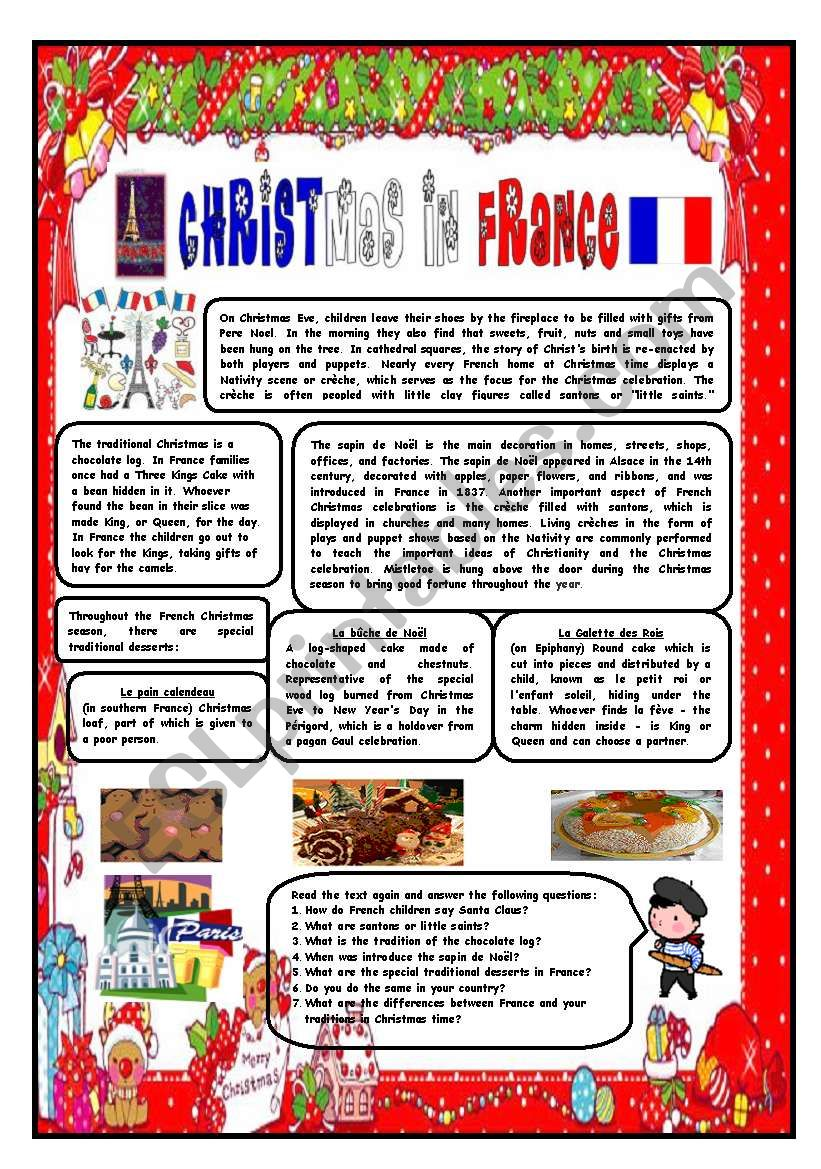 CHRISTMAS AROUND THE WORLD - PART 3 - FRANCE (B&W VERSION INCLUDED) - READING COMPREHENSION
