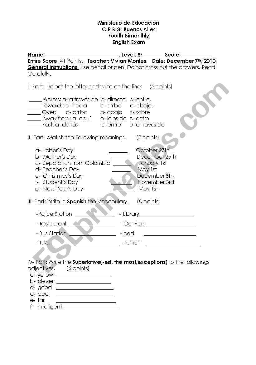 English worksheets: Final Exam