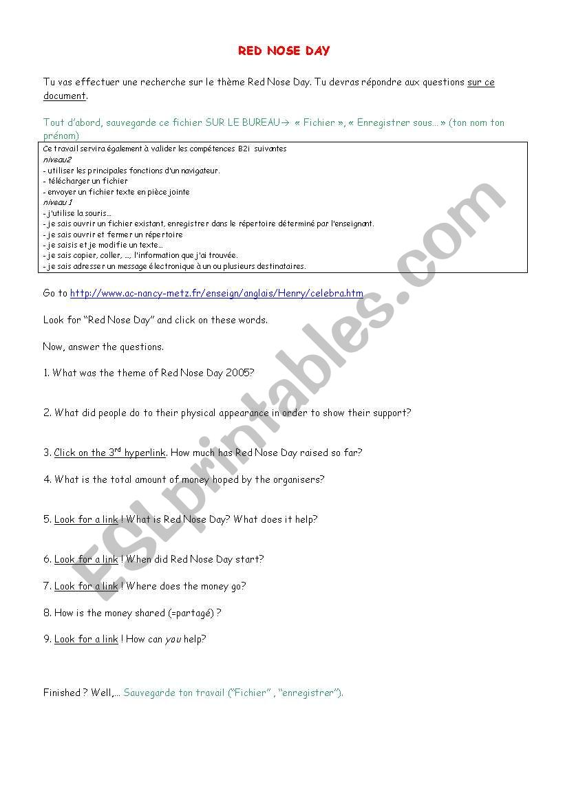 RED NOSE DAY QUEST worksheet
