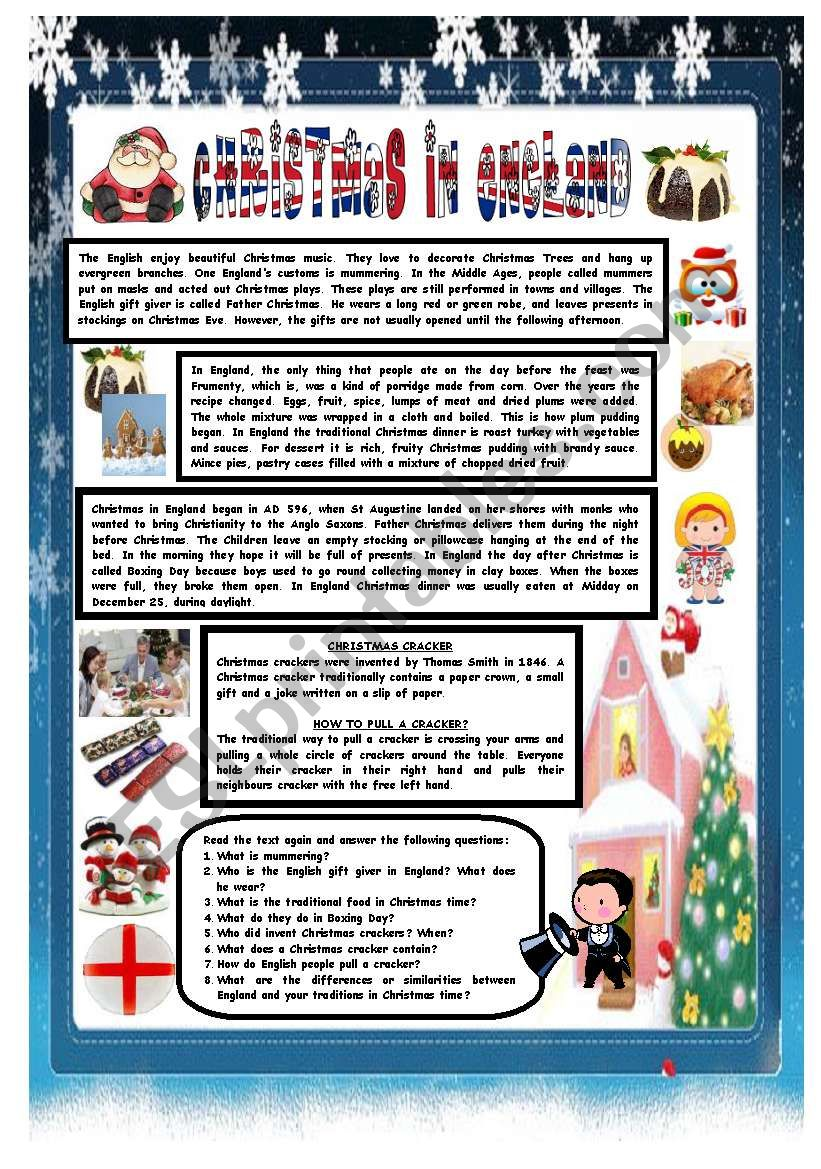CHRISTMAS AROUND THE WORLD - PART 4 - ENGLAND (B&W VERSION INCLUDED) - READING COMPREHENSION
