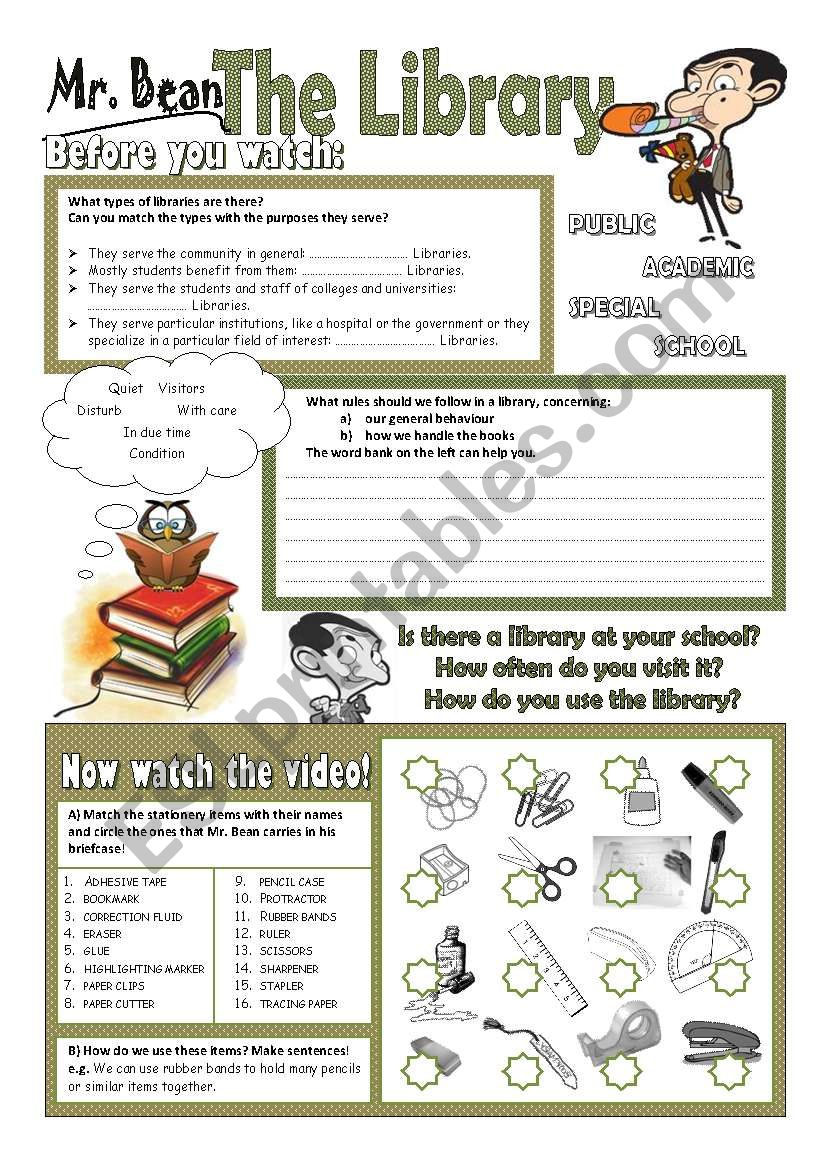 Mr Bean - The Library (2 pages) - ESL worksheet by perma