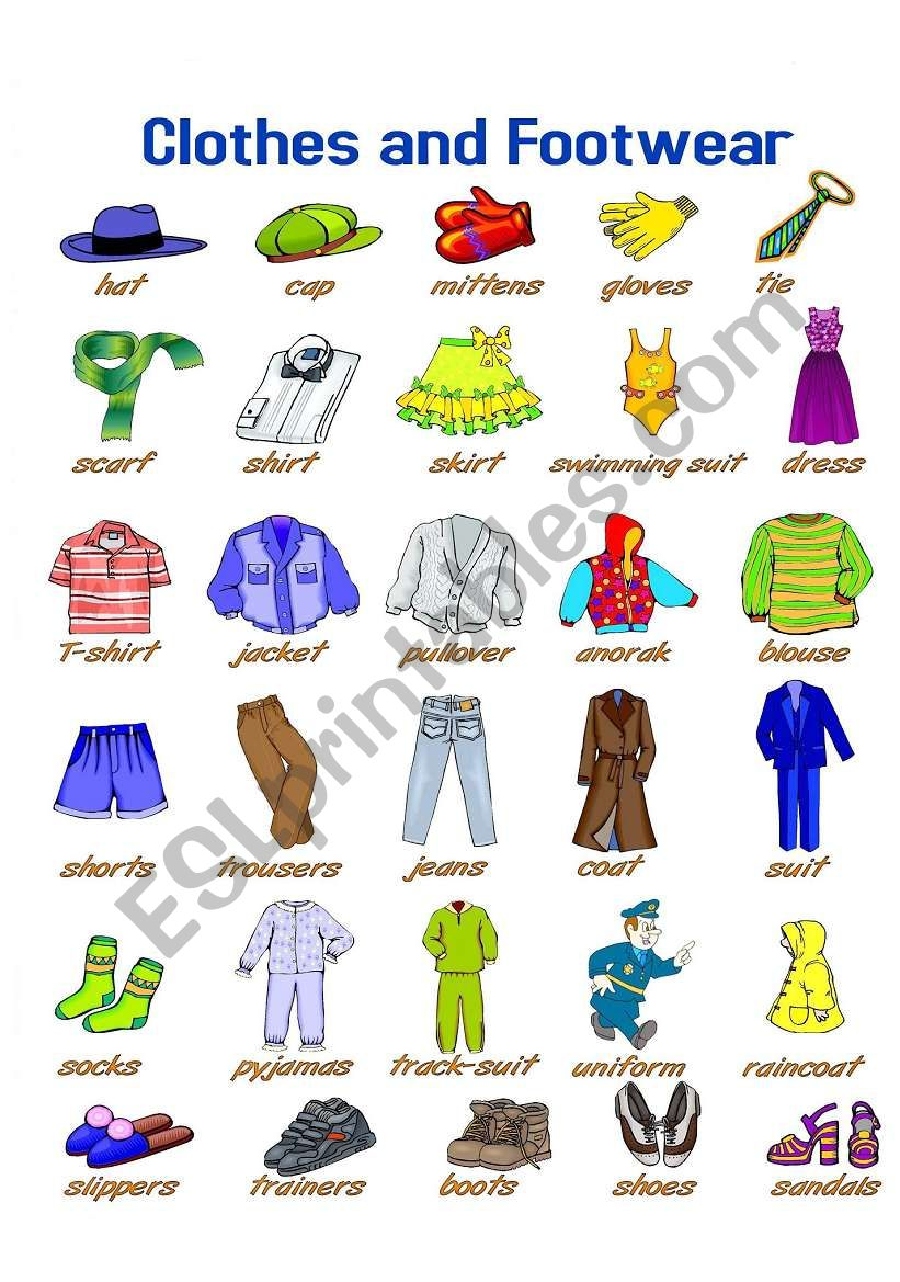 Clothes and Footwear Pictionary