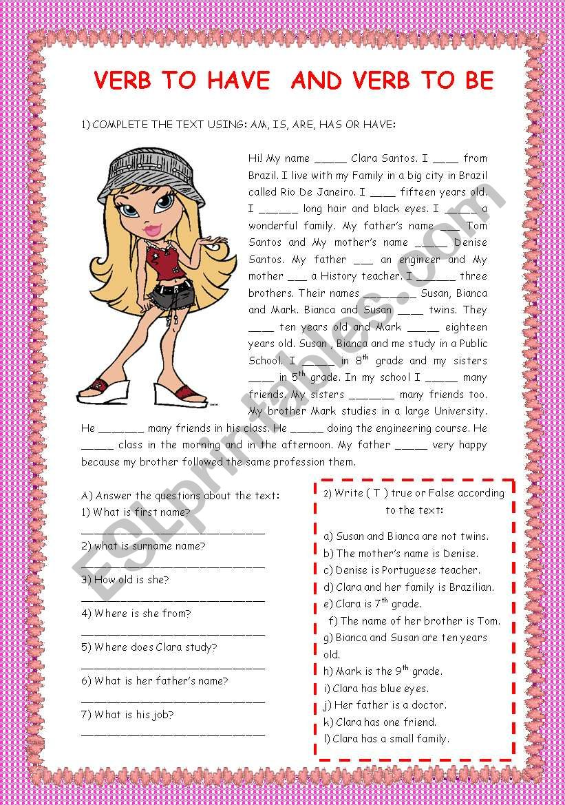 VERB TO BE AND VERB TO HAVE worksheet