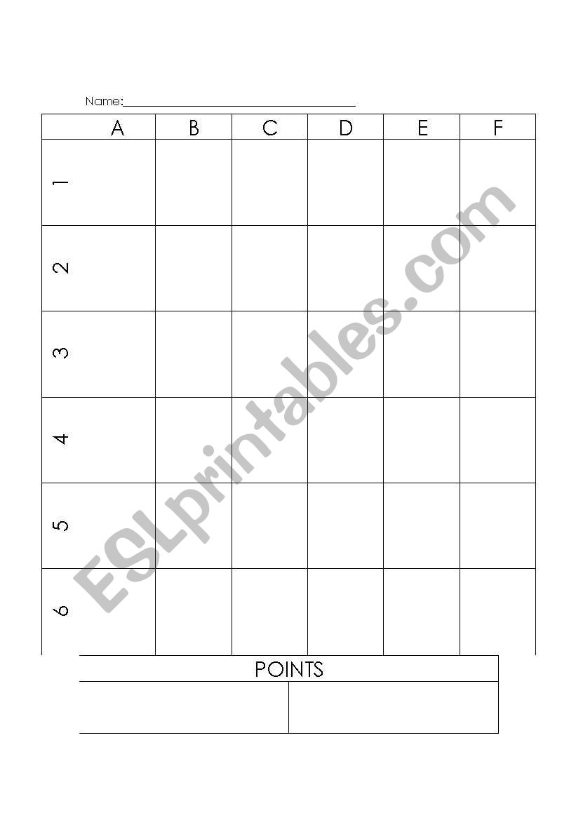 English Worksheets Battleship Game Template