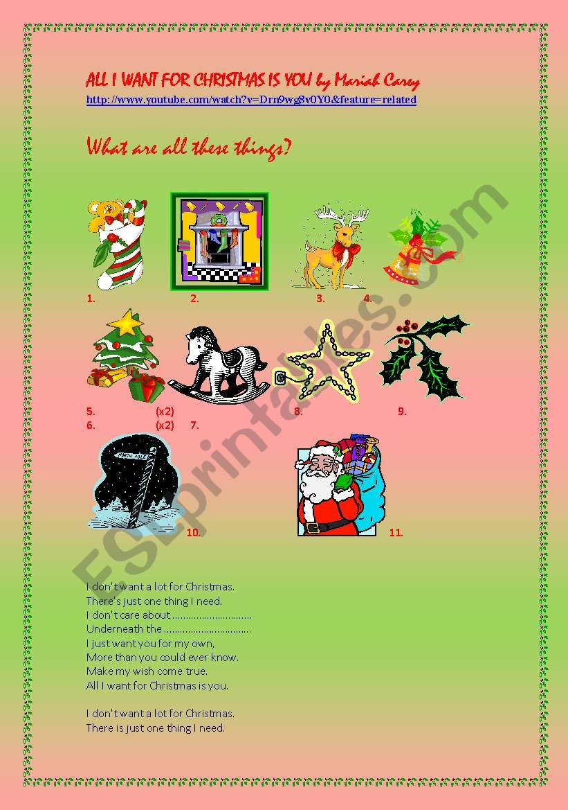 All I Want for Christmas is You - ESL worksheet by peace33