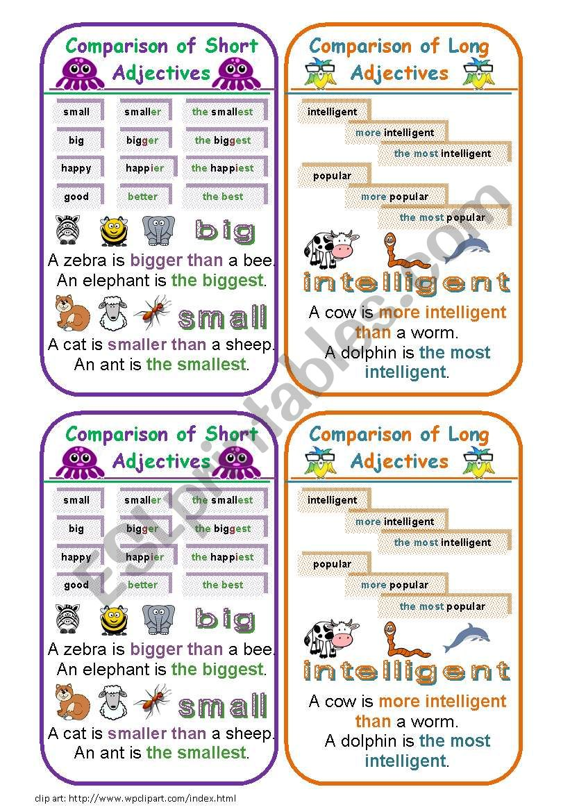 COMPARISON OF ADJECTIVES BOOKMARKS