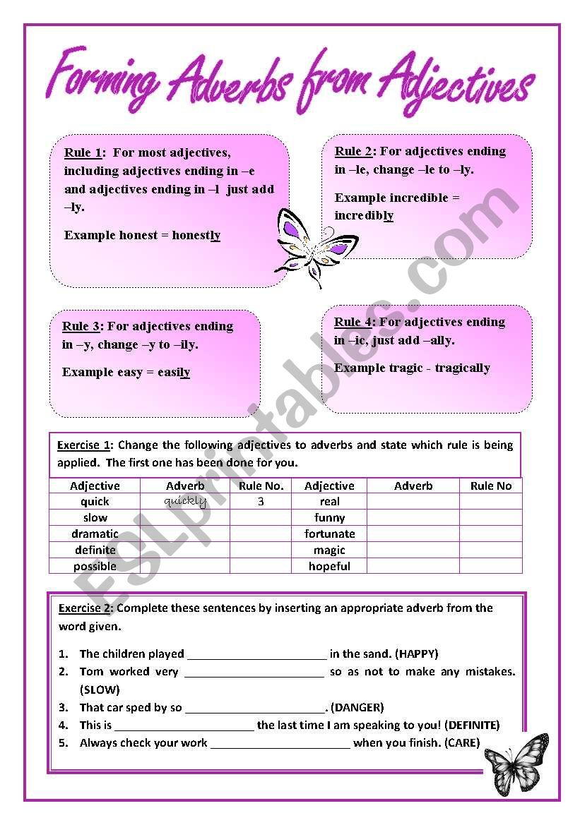 Forming adverbs from adjectives - ESL worksheet by mariaelaine