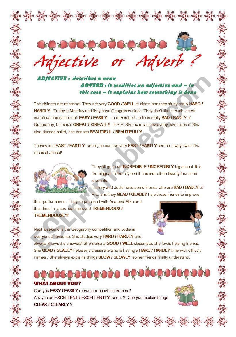 Adjective Or Adverb Esl Worksheet By Aliciapc