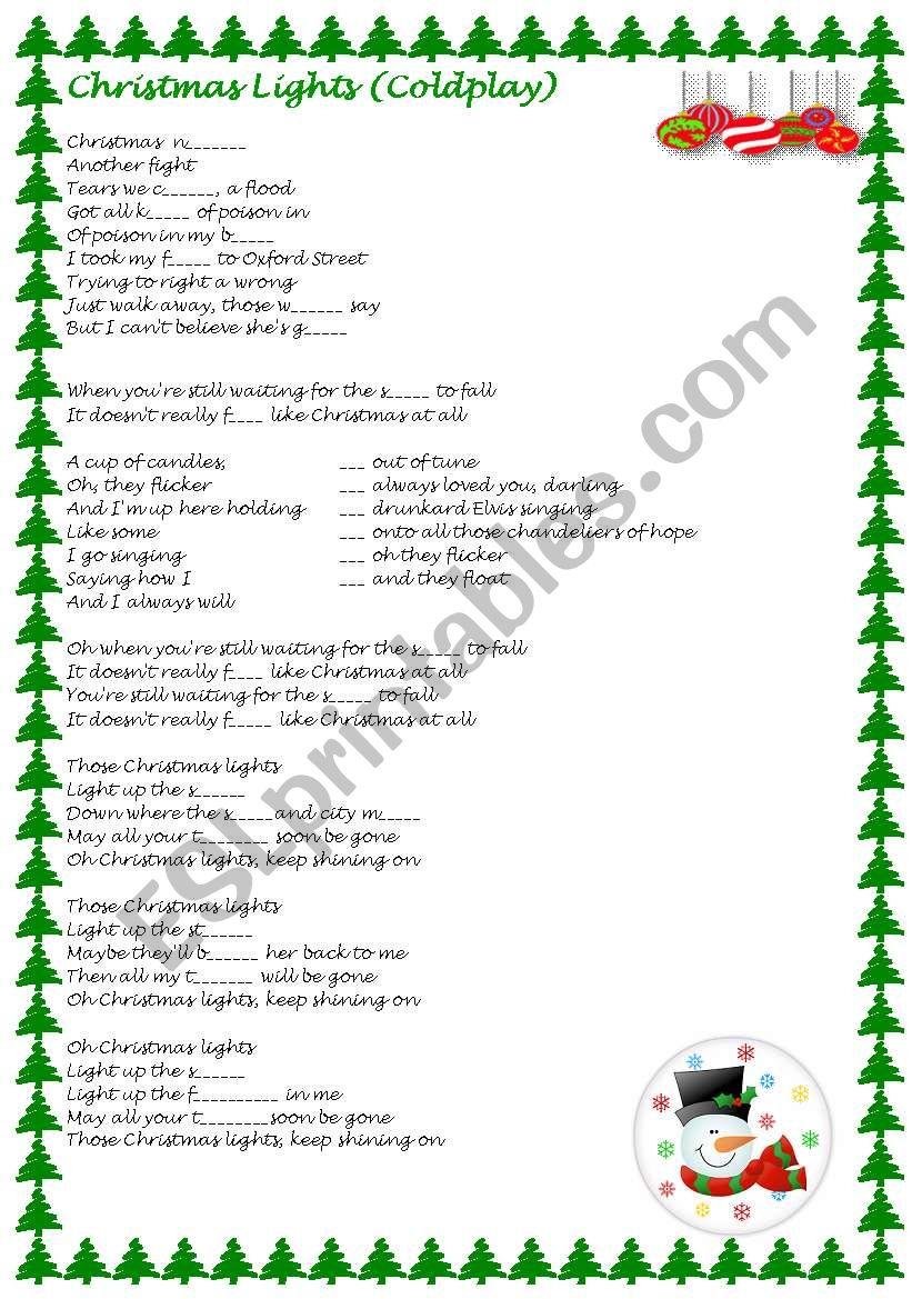 Christmas Lights By Coldplay Esl Worksheet By Neusferris