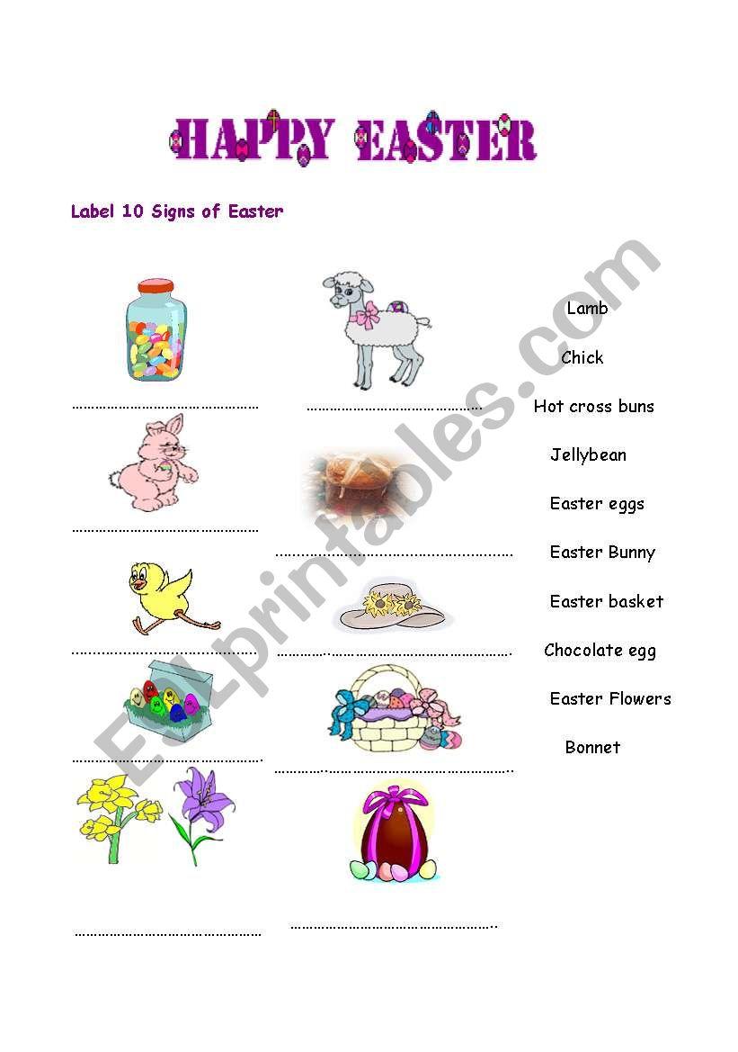 Easter Signs worksheet