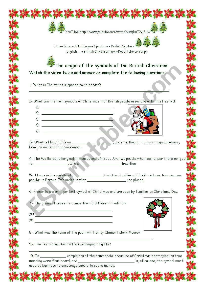 The pagan symbols of British Christmas - ESL worksheet by anyataide