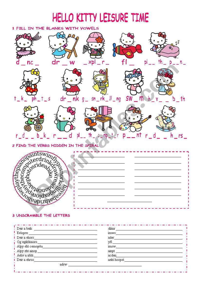 Hello Kitty leisure verbs worksheet