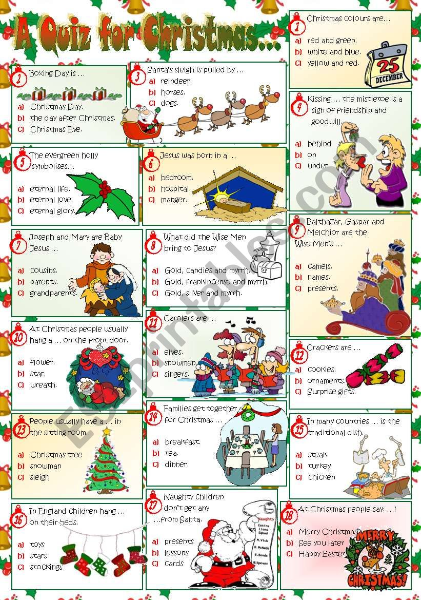 A QUIZ FOR CHRISTMAS... worksheet