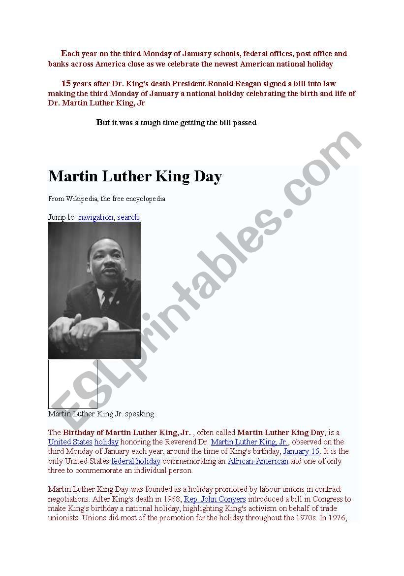 Free Martin Luther King Worksheets