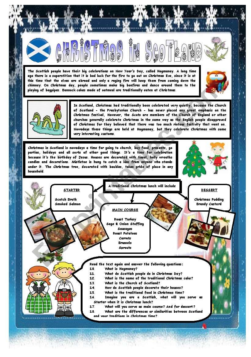 CHRISTMAS AROUND THE WORLD - PART 5 - SCOTLAND (B&W VERSION INCLUDED) - READING COMPREHENSION