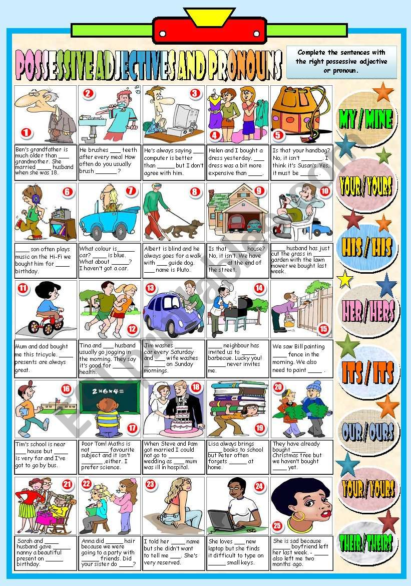 POSSESSIVE ADJECTIVES AND PRONOUNS (B&W VERSION+KEY INCLUDED)