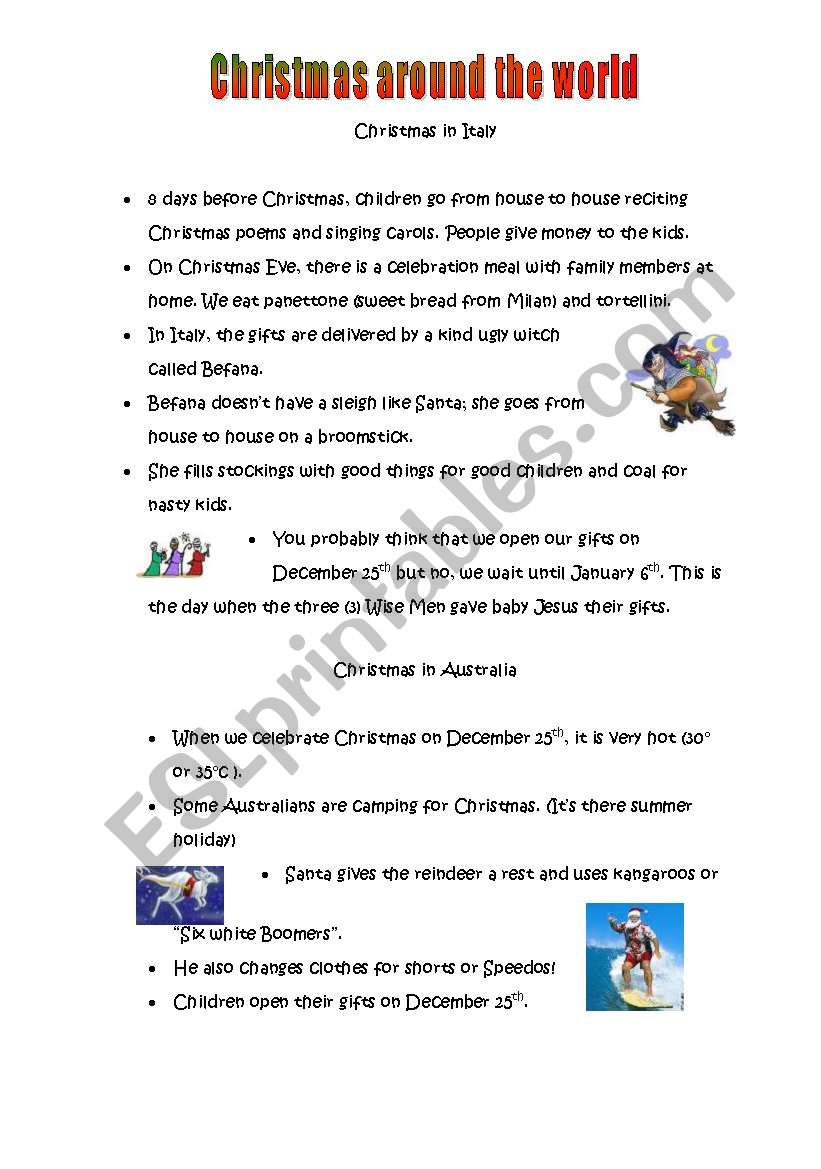 English worksheets: Christmas Around the World Italy and Australia