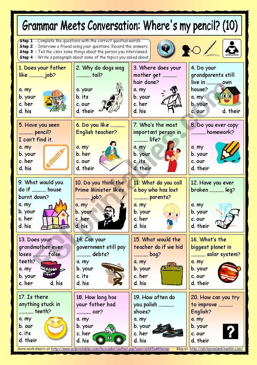 Grammar Meets Conversation: Possessive Adjectives (10) - Asking for Information
